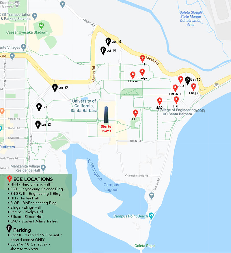 UCSB ECE Offices and Parking Map